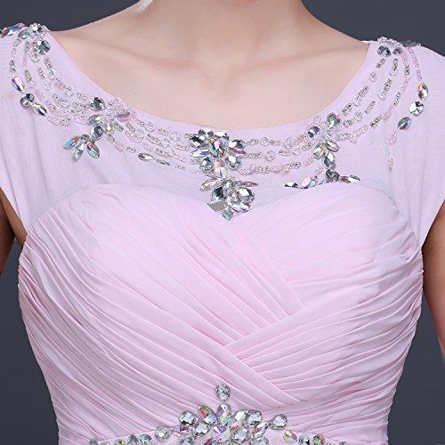 Bridal_Mall - Robe - Trapèze - Manches Courtes - Femme Rose Rose Rose