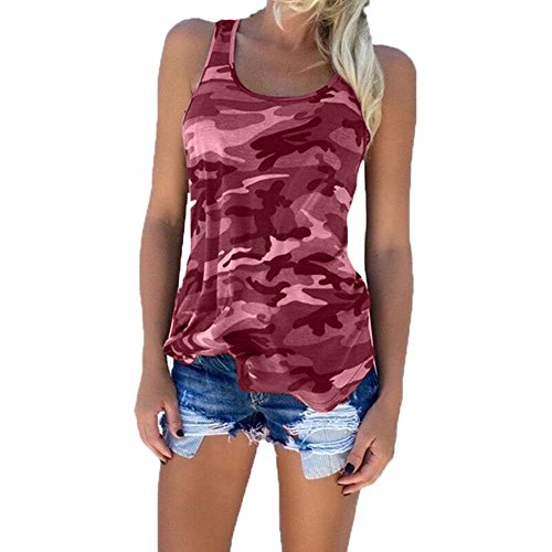 Camicie da donna Camouflage Military Fashion Sleeveless vest Top vino rosso