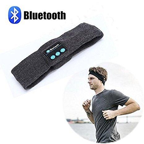 2 en 1 El sudor absorbido diadema y Hi-Fi Stereo Auricular inalámbrico Bluetooth 3.0 auriculares para deportes al aire libre Ejercicio Running Walking Pesca Equitación Ciclismo Esquí Negro