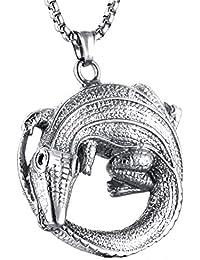 189436771a2f2 Aienid Collier Homme Acier Crocodile Argent Collier pour Hommes