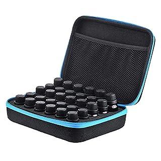 30 Bottles Essential Oils Carrying Case Shockproof Essential Oils Display Organizer Travel Bag Nail Polish Storage Box - Holds 5ml, 10ml, 15ml Bottles (Blue)