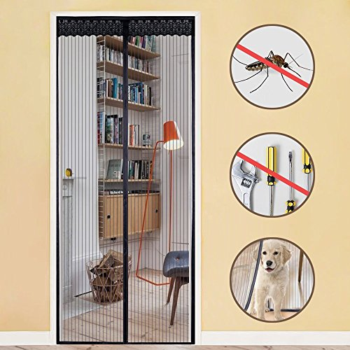 Rabbitgoo zanzariera magnetica per porte finestre d'ingresso/cortili-tiene fuori gli insetti e entra l'aria fresca 90x210cm nero