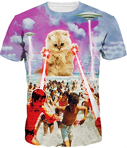 TDOLAH Herren Bunt Galaxy T-Shirt Sport Rundhals Spaß Motiv Tops (Größe L (Tag XL), Laser Katze)