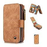 A9H iPhone 5 Multifunktions Hochwertigen PU Leder Handy Tasche mit Schutzhülle Handyhülle hülle und Geldbörse 2 in 1,brown