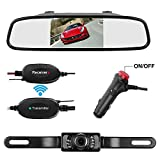 Wireless Backup Camera and Mirror monitor Kit Waterproof License Plate Rear View Camera 9V-24V Parking System 4.3 Display 7 LED IR Night Vision For Car/Vehicle/SUV/Van/Campe (Wireless 4.3 Mirror)