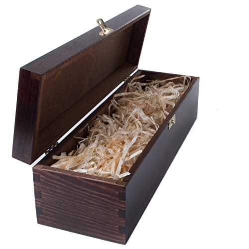 (Braun Lack Holz Wein Box Halter Fall mit Scharnieren Pre gefüllt mit Holz Wolle–1oder 2Flaschen erhältlich handgefertigt, holz, braun, 1 Bottle)