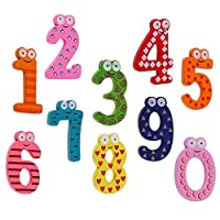 Amesii 10Pcs Cute Wooden Fridge Magnet Number 0-9 Kids Colorful Educational Toy Set