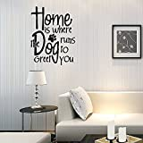 wandaufkleber 3d schlafzimmer 24X17 Home Is Where The Dog Runs To Greet You Family Member Furry Friend Puppy Bark Woof Wall Decal Sticker Art Mural Home Decor Quote For Bedroom Living Room