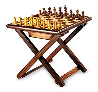 Stylla London Handmade Sheesham Wood Cross Leg Folding Coffee Table Chess Game - cheap UK light shop.
