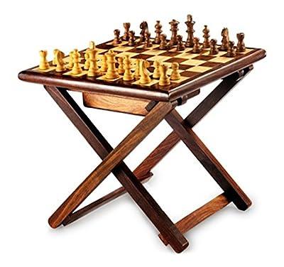 Stylla London Handmade Sheesham Wood Cross Leg Folding Coffee Table Chess Game - cheap UK light shop.