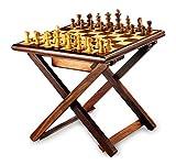 Stylla London handgefertigt Sheesham Kreuz Bein zusammenklappbar Couchtisch Schach Spiel, Holz, braun, 16,3x 12.83X 3,31cm