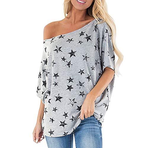 AMUSTER Oberteile Blusen Damen Tops Damen T Shirt One-Shoulder Kurzarm Casual Sommer T-Shirt Oberteil Tops Sterne Drucken Bluse Tops