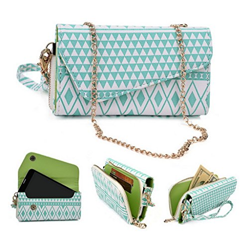Kroo Tribal Urban Style Phone Case Walllet Clutch fits Samsung Galaxy S III mini Value Edition multicolore Tan Brown White with Mint Blue