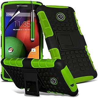 i-Tronixs (Grün) Motorola Moto E hülle Hochwertige Starke und haltbare Survivor Hard robuste Stoßfest Heavy Duty bei zurück Stand Skin Case Cover& Screen Protector