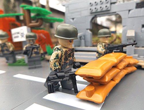 Modbrix 8821- ✠ 2 STÜCK Custom Minifiguren Wehrmacht Fallschirmjäger aus original Lego® Teilen inkl. MP40 Maschinenpistole ✠ thumbnail