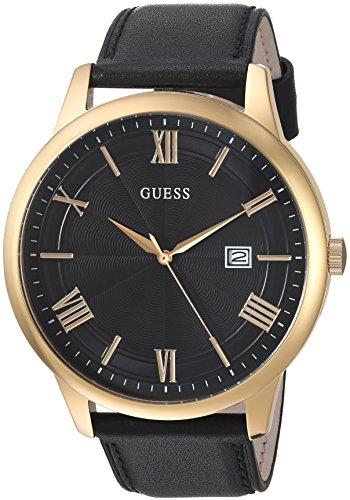 Guess orologio casual da uomo in pelle, colore: Oro/Nero (Model: U0972G2)