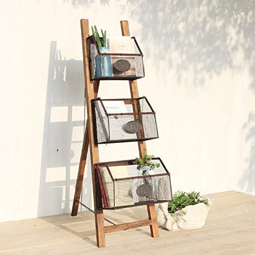 Baianju Massivholz Schmiedeeisen Bücherregal Einfache Zeitschriftenständer Bilderbuchständer Boden Zeitschriftenständer Lagerregal Falten Bücherregal -