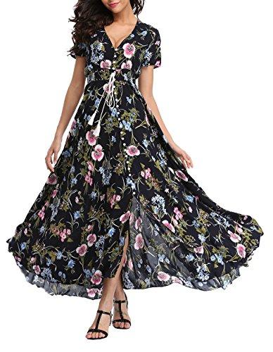 VOGMATE Femme Robe Chic Longue Col V à Fleur Manches Courtes en Coton Robe Maxi de Plage D'été Casual,XXL