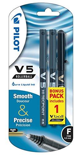 Pilot V5-Penna roller ad inchiostro liquido, 0,5 mm, con pennino, colore: nero (confezione da 3)