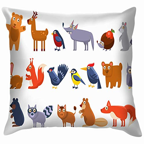 beautiful& Wild Forest Animals Set Cute Cartoon Wildlife Character Cotton Throw Pillow Case Cushion Cover Home Office Decorative, Square 18X18 Inch (Day Halloween Mole)