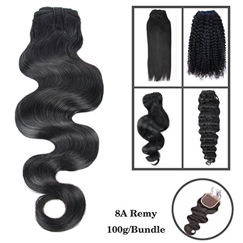 20cm-76cm 8A 100g 1 Stück (Rabatt auf 3)100% Echthaar Tressen zum einnähen human hair Extension Schwarz Brazilian REMY VIRGIN Haarverlängerungen Hair Weave Haartressen Locken Body Wave 50cm(20