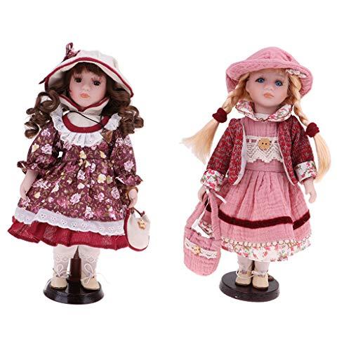 Toygogo 2 Stücke 30 cm Schöne Porzellan Mädchen Puppe Viktorianischen In Kleid (Viktorianische Puppe Mädchen Kostüm)