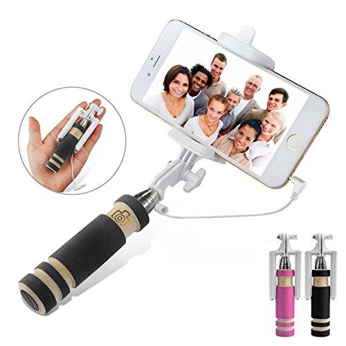 Perche de Selfie , Net Solutions selfie stick extensible de poche Bâton de Selfie avec télécommande câble pour iPhone, Android Smartphones (Noir)
