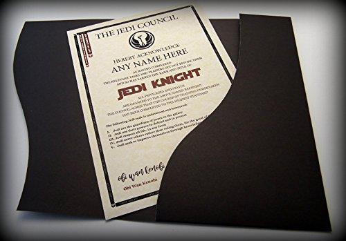 planetsforsale Personalisierte Jedi-Ritter Zertifikat Star Wars Fans - Komplett mit echtem Hologramm