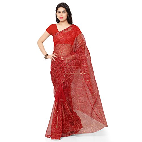 Rajnandini Women's Cotton Saree (Joplss1020_Red)