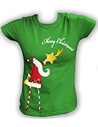 Artdiktat Damen T-Shirt Santa Claus mit Stern Digitaldruck