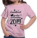 HARIZ  Mädchen T-Shirt Einzelkind Große Schwester 2019 Sterne Große Schwester Geschwisterliebe Bruder Geburt Plus Geschenkkarte Rosa 116/5-6 Jahre