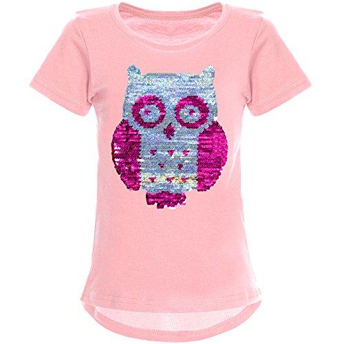 BEZLIT Mädchen Wendepailletten T-Shirt mit Tollen Eulen Motiv 22031, Farbe:Rosa, Größe:164