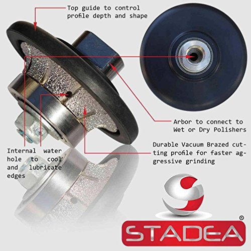 diamond profile wheel 3/8 inch radius - Demi Half Bullnose B10 Router Bit For Marble Stone Granite Edges By STADEA by STADEA