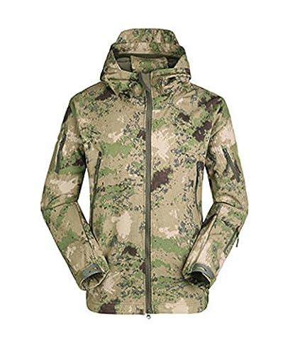 wantoby Herren Wasserdicht Softshell mit Kapuze Militär Tactical Outdoor Jacke Atmungsaktiv Leicht Gr. S, grün camo