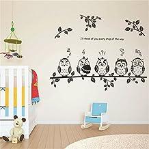 GenialES Búhos y Ramas Pegatina de Pared DIY Vinilo Decorativo Adhesivo PVC para Dormitorio Salón 50*70cm