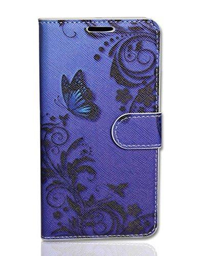 Handy Tasche Case book für Apple iPhone 6 / Hülle Etui Handytasche Schutzhülle butterfly blau Pda-tasche Pouch Case