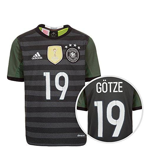 adidas Herren Dfb Trikot Away Götze EM 2016 Kinder Nationalmannschaften, Grau / Weiß / Grün, 176-XL