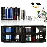 41PCS kit de dessin pro avec Crayons Fusain, crayon de couleur aquarellable, crayon graphite et accessoire dessin dans une grosse trousse, Idéal Cadeaux pour étudiant Artiste Adulte Enfant