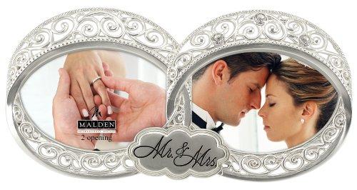 Malden International Designs Hochzeit Mr. und Mrs. Double Hochzeit Ring, mit Jewels Bilderrahmen, 2Option, 2–4x 4, Silber