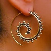 orecchini in ottone - ottone orecchini a spirale - orecchini gitani - orecchini tribali - orecchini etnici - orecchini indiani - orecchini di dichiarazione - grandi orecchini - gioielli in ottone - gioielli tribali