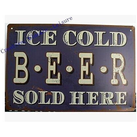 Vintage segno di stagno pub parete decorazione , di ghiaccio freddo birra venduta qui metallo retrò wall art poster per bar ,30x20cm B09