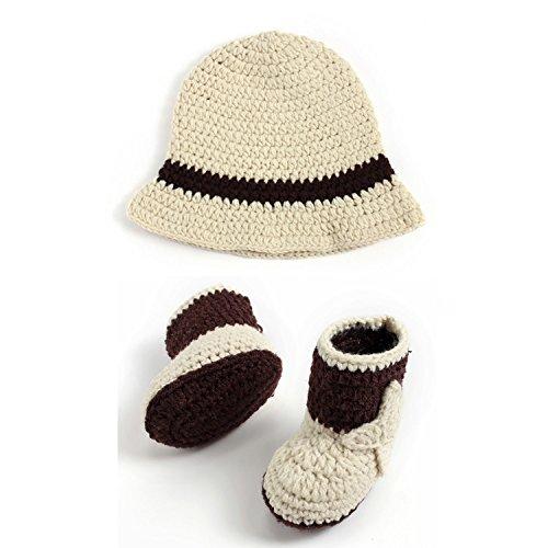 HUPLUE Neugeborene Mädchen Jungen Baby Fotoshooting Cowboy Hat Boots Outfits Fotografie Requisiten Beige