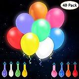 omitium LED Luftballons 40 stück Leuchtende Luftballons 8 Farben LED Ballons Einfach zu Bedienen Bunt Ballins Festival Dekor Bunte Helium Luftballons für Hochzeit , Party , Geburtstag , Weihnachten