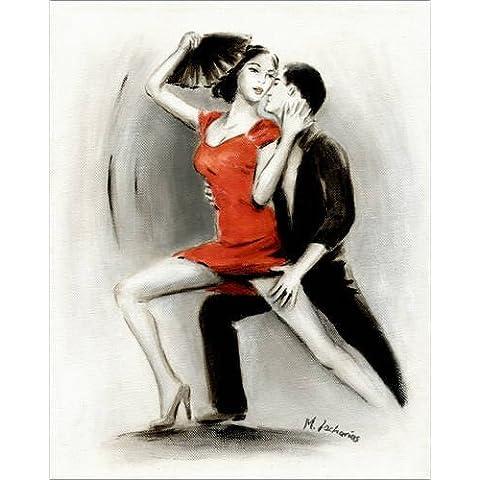 Impresión en madera 90 x 110 cm: Passionate dance couple Latin American Painting de Marita