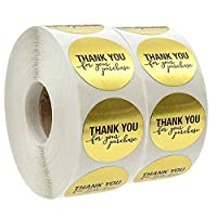 """Thank-You-Stickers-Roll 1000 Pcs 1"""" Round Gold Foil Thank You for Your Purchase Stickers"""
