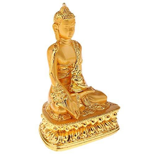 MagiDeal Meditation Golden Sitzende Buddha Figur Dekofigur Feng Shui Dekoration für Haus oder Büro
