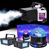 Máquina de humo 400W + líquido + sunmagic LED RGB + 2ledstrobe