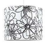 Moderna Pantalla de Lámpara de Techo Colgante MiniSun Cilíndrica con Estampado Floral Estilo Dibujo en Blanco y Negro