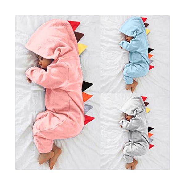 HAOHEYOU Ropa para BebéS,0-24 Meses ReciéN Nacido Infantil Bebé NiñO Chicas Dinosaurio Estilo Labor De Retazos Mameluco… 2