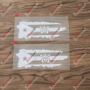 3S MOTORLINE 2X White 6 Puerto Rico Map Flag Coqui Frog Decal Sticker PR Car Vinyl no bkgrd Die Cut